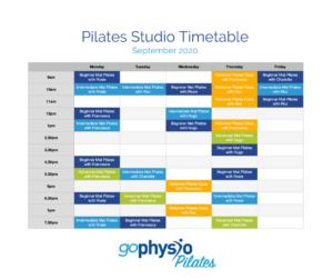 September pilates timetable
