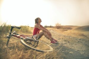 relaxed woman cycling