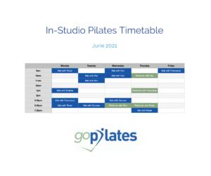 June 2021 goPilates Timetable